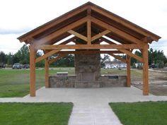 72 Extraordinary Wood Backyard Pavilion Design Ideas Outdoor - Page 12 of 65 Pavillion Backyard, Backyard Patio, Backyard Fireplace, Outdoor Rooms, Outdoor Living, Outside Living, Patio Design, Outdoor Projects, Cabana