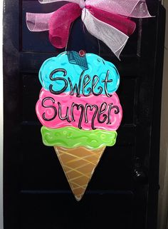 Summer door hanger,Ice cream door hanger,Personalized decor hanger,Custom door hanger,summer door sign, party door decor, on Etsy, $35.00