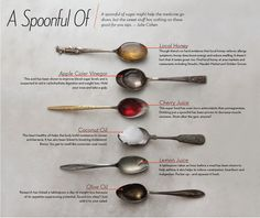 A Spoonful of..... benefits of honey, apple cider vinegar cherry juice coconut oil, lemon juice and olive oil. : the Old Time Spice Shoppe.