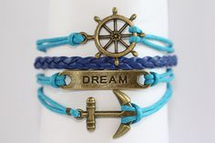 ALLURE~ Multilayer Bracelet Charm Bracelet Shower Friendship Best Friends Ship Wheel Dream Anchor Infinity Wrap Leather ilovecheesygrits by ilovecheesygrits on Etsy