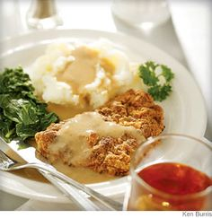 Chicken Fried Steak. Pan-fried, crispy cube steak has less than one-third of the fat and about 80 percent less sodium.