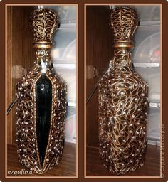 Decor items Applique from twisted flagella: Decorative decanter MK Clay, Glue, Paint, Napkins. Diy Bottle, Wine Bottle Crafts, Bottle Art, Bottles And Jars, Glass Bottles, Bottle Cutting, Jar Art, Cement Crafts, Antique Perfume Bottles