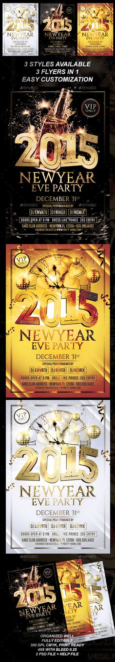 New Year Party Flyer V03 Models, New years party and Design