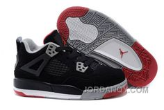 sale retailer 8c4f3 4ba4d Kids Jordan 4 Bred Basketball Shoes Black Cement Grey-Fire Red Top Deals