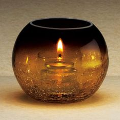 SternoCandleLamp 80288 Amber Glass Sphere Lamp with Crackle Base Finish