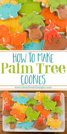 How to make sturdy palm tree cookies by SemiSweetDesigns.com. Free template and easy to follow tutorial to decorate these cookies with royal icing! Cookies For Kids, Cut Out Cookies, Fun Cookies, Cupcake Cookies, Sugar Cookies, Decorated Cookies, Cupcakes, Dinosaur Cookies, Dinosaur Cake