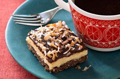 Layered Coconut-Chocolate Bars -- Four layers work together in this delicious dessert recipe: A walnutty crust is topped with a creamy center, a layer of chocolate and toasted coconut flakes. Pudding Desserts, Cookie Desserts, Just Desserts, Dessert Recipes, Dessert Healthy, Bar Recipes, Dessert Ideas, Delicious Recipes, Chocolate Bar Recipe