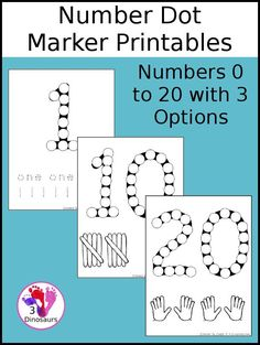 Free Number Dot Marker Pages 0 to 20 - with numbers tracing, tally markers, and hands for counting - 3Dinosaurs.com