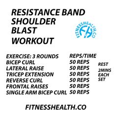 Resistance Band Arm Shoulder Blast Rugby Training, Muscle Training, Resistance Band Arms, Reverse Curls, Lateral Raises, Shoulder Muscles, Physical Activities, Biceps