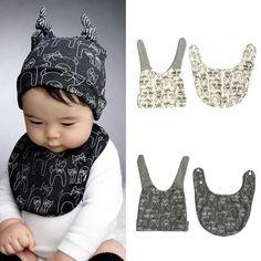 귀여운 아이 아기 침 점심 턱받이 스카프 고양이 패턴 모자 캡 세트 뜨거운 LY3