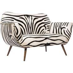 Emporium Home Zebra Settee featuring polyvore, home, furniture, sofas, black and white sofa, oversized couches, oversized furniture, zebra couch and oversized sofa