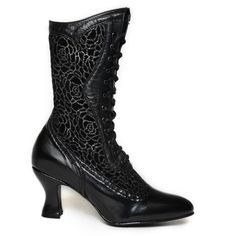 Oak Tree Farms Women's Vows Inlay Black Kidskin Gold Rush Boots