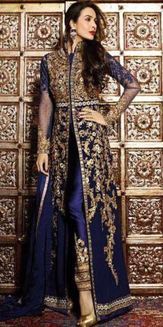 Malaika Arora In Dazzling Blue Georgette Anarkali Suit With Dupatta.