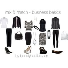 """mix & match business basics"" by beautybesties1 on Polyvore"