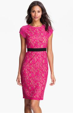 BCBGMAXAZRIA Sheer Back Lace Sheath Dress | Nordstrom. Love the lace. Not sure about the color.