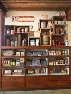 Salt & Straw | Portland Love this cabinet idea to display jams, etc for sale.