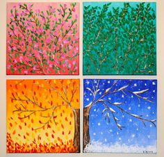 Four canvas vibrant acrylic four seasons painting by SailorsStudio Salt Painting, Tulip Painting, Oil Painting Flowers, Four Seasons Painting, Four Seasons Art, Canvas Art Projects, Button Art, Button Crafts, Art Classroom