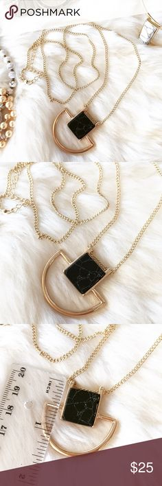 """🎀HP🎀 - BLACK MARBLE SQUARE NECKLACE - Square black marble necklace with half circle gold detail.  Gorgeous necklace easy to wear with anything! Wear with jeans and a cozy sweater for a casual look or wear with a button down shirt and heels for work! Marble varies slightly for each piece. Adjustable chain length:  28"""" - 30"""" 🎄Perfect Stocking Stuffer! Pair with other jewelry accessories in my closet for 20% off!  🙅🏼No trades / selling off of Posh.  ✨Offers always welcome!✨ Claire Louise…"""