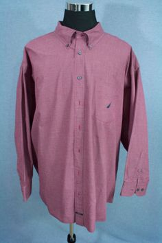 NAUTICA-Mens-Dress-Button-Down-Shirt-Sanded-Poplin-Maroon-Size-5XL