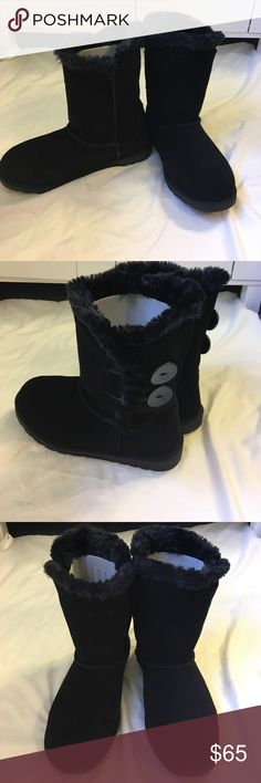 Black boots New with tags and comes with box! Never worn! Say size 7 women they do run a bit small. Could fit an older child 10-13 and women with smaller feet! I'm open to ALL offers! Please don't be afraid t ask questions! Shoes Ankle Boots & Booties