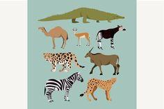 Set Of Different African Animals Graphics Vector Set Of Different African Animals. Animals of the African savanna Dromedary camel, crocodile by kanva777