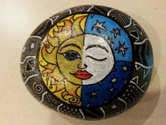 Sun and Moon Zentangle, handpainted stone, hand painted rock, rock painting, gift for her, gift for him, home decor, decorated rock