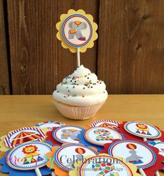 Set of 12 Personalized Circus Cupcake Toppers -Circus Party -1st Birthday -Baby Shower