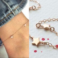 Rose gold star anklet - mini star ankle bracelet -  14K rose gold-filled chain   - chain anklet - teeny tiny star - rose gold anklet