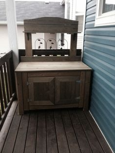 New potting bench. No plans just photo. Mostly used leftover scraps from building a deck. And decorative garden border for the metal piece and metal shelf bracket. Still have to paint and stain