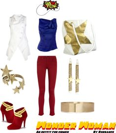 """""""Wonder Woman (outfit for women) by Rhosauce"""" by rhosaucey on Polyvore"""