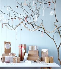 All of it! The brown paper, white ornaments, blue wall, and especially the branch!