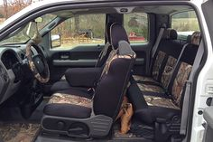 I could just sew a thin line of pink around the edge of the camo Ford Seat Covers, Camo Seat Covers, Truck Seat Covers, Car Seats, Camo Truck Accessories, Chevy Silverado Accessories, Ford F150 Accessories, Jeep Cherokee, Country Seat Covers