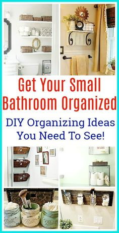 11 Small Bathroom Organization Ideas- If you want to organize a small bathroom in your home, then you need to see these 11 fantastic small bathroom organizing ideas! They're really clever ways to maximize your bathroom storage! Small Bathroom Organization, Diy Organization, Organizing Ideas, Bathroom Storage Diy, Kitchen Storage, Storage Spaces, Baby Bathroom, Diy Bathroom Decor, Bathroom Ideas