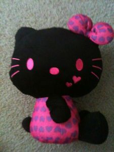 black hello kitty Stuffed Animal Cat, Stuffed Animals, My Favorite Color, My Favorite Things, Hello Kitty Plush, My Melody, Plush Dolls, Black Cats, Cool Cats