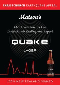 Matsons Quake Lager #kiwihospo #MatsonsQuakeLager #KiwiCraftBeer Kiwi, Craft Beer, New Zealand, Home Brewing