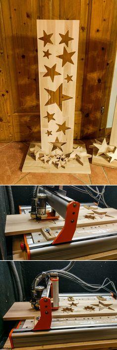 Ein dekoratives Projekt auf der #STEPCRAFT! Sterne in unterschiedlichen Größen aus einem Holzbrett ausfräsen und stilvoll drapieren! Projekt: Rüdiger Ritzberger
