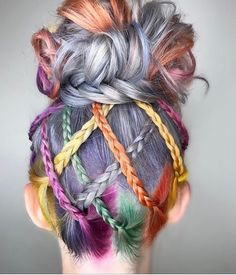 Rainbow hair color with braided updo