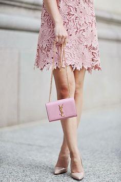 Pretty in pink: lace dress, Saint Laurent shoulder bag & Manolo Blahnik pumps #StreetStyle