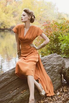 Paper Mothball Vintage. Vintage 1940s Dress for Fall in Central Park. Autumn fashion, Pinup, Orange dress
