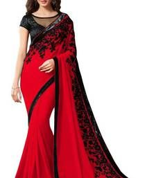 Buy red printed chiffon saree with blouse party-wear-saree online