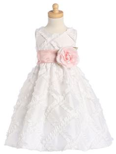 White Taffeta Ribbon Dress with Color Change Sash. This dress may be found on our website for $44.00