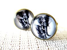 Elephant Cuff Links - Vintage Men Cufflinks Accessories with a Gift Box  - 4 Color Choose , Dad, Groom, Groomsmen Father's Day Gift on Etsy, $10.00
