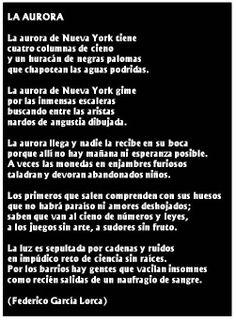 """El poeta Federico García Lorca escribe refiriendose a sus vivencias en Nueva York, el poema """"La aurora""""."""