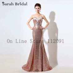 Luxury Rose Gold Sequined Mermaid Evening Dresses Crystal Beading Prom Gowns Long Train 2016 vestidos de noche In Stock SD319