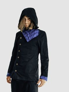 Side buttons, long front collar buttons to big hood for stealthy moments. Or cold ones. Turn up cuffs to reveal contrast lining. Available in black with turquoise stripe lining. Modern Mens Fashion, Drop Crotch, Modern Man, Collars, Contrast, Cuffs, Raincoat, Menswear, Buttons