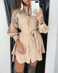 Elegant lace mesh embroidery women A-line dress Long sleeve button office ladies dresses Solid sashes summer shirt dress Office Dresses For Women, Dress Shirts For Women, Clothes For Women, Ladies Dresses, Classy Dresses For Women, Mode Outfits, Dress Outfits, Fashion Outfits, Dress Fashion