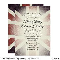Distressed British  Flag Wedding Invitations
