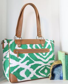 Laptop Camera Bag Emerald Green Ikat and Tan Trim by kailochic