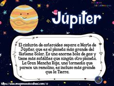 SISTEMA SOLAR para niños de Primaria - Imagenes Educativas Science Projects, School Projects, School Ideas, Jupiter Planeta, Solar System Pictures, Mission To Mars, Space Toys, Kids Education, Fun Learning
