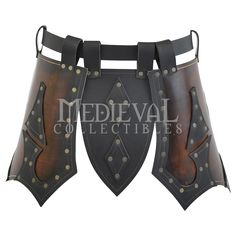 Paladin's Tassets - Medieval Collectables. Upper leg protection in leather that attaches to a belt.